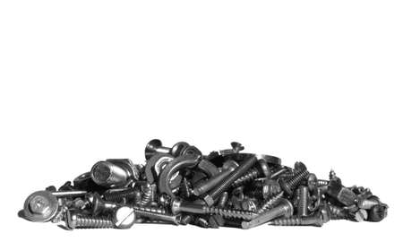 Industrial steel hardware bolts, nuts, screws isolated on white with copyspace Stock Photo - 4368885