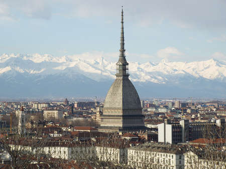 Turin panorama seen from the hill, with Mole Antonelliana (famous ugly wedding cake architecture) photo