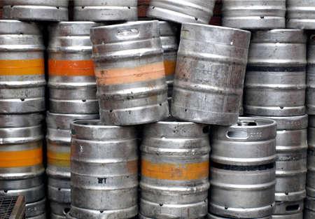 casks: Range of stacked beer casks of kegs