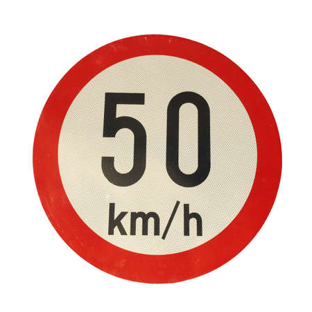 kilometres: Traffic speed limit sign isolated over white Stock Photo