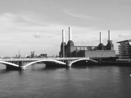 London Battersea powerstation abandoned factory - in black and white Stock Photo - 4651644