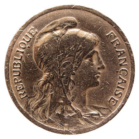 collectibles: Vintage France coin with the French republic represented as a beautiful woman