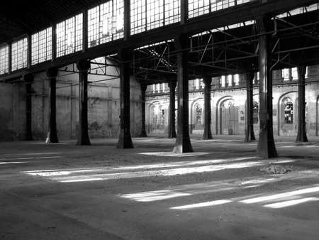 abandoned factory: Abandoned factory architecture - in black and white Stock Photo