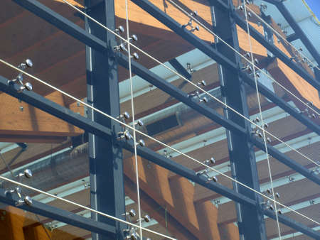 Detail of a modern structural glass facade