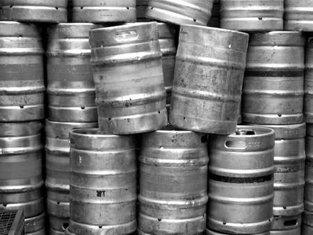 Range of stacked beer casks of kegs