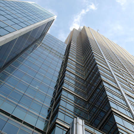 wharf: Modern highrise skyscraper steel and glass architecture Stock Photo