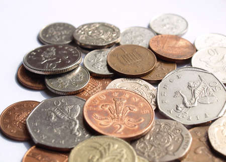 Range of British Pound coins (UK currency) photo