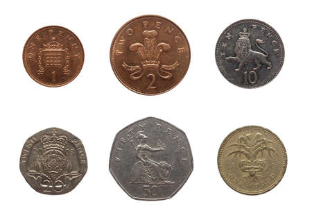 Full range of British coins from 1 Penny to 1 Pound isolated over white Stock Photo