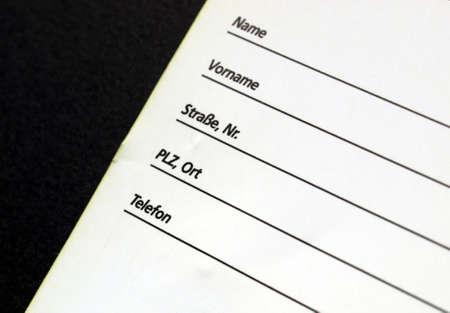 datos personales: Detalle de un formulario de datos personales - en alem�n