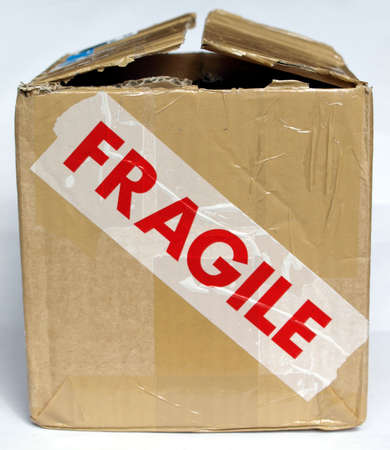 Detail of a fragile corrugated cardboard packet photo