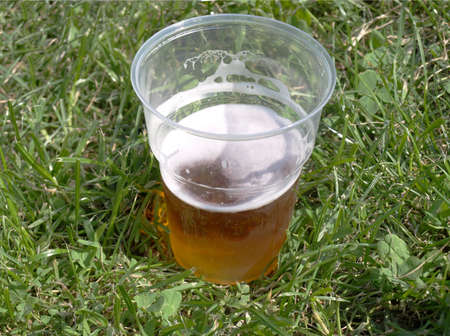 Pint of beer amidst a meadow grass photo