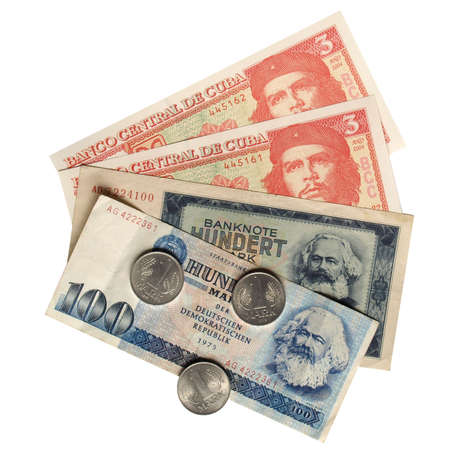 karl: Vintage banknotes with Karl Marx (from DDR) and Che Guevara (from Cuba)