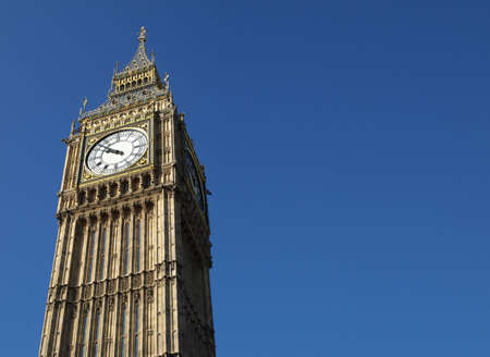 Big Ben at the Houses of Parliament, Westminster Palace, London, UK - with copyspace photo