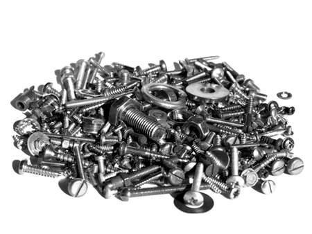 Industrial steel hardware bolts, nuts, screws isolated on white with copyspace Stock Photo - 4949015