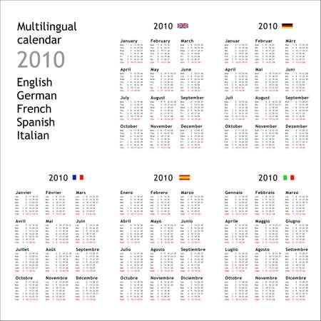 2010 multilingual calendar in English German French Spanish Italian photo