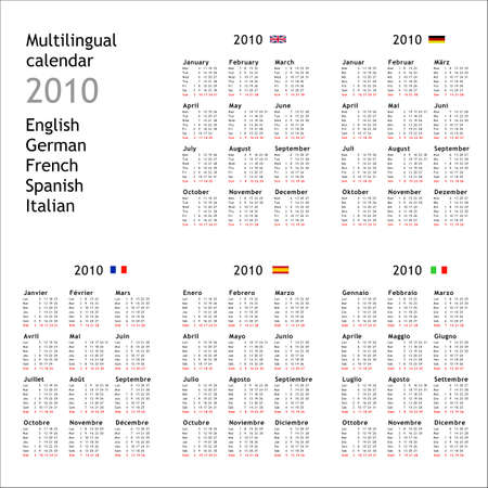 lingual: 2010 multilingual calendar in English German French Spanish Italian