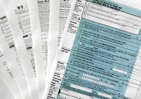 Range of various blank USA tax forms Stock Photo