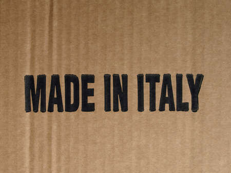Brown corrugated cardboard sheet with Made in Italy photo