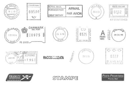Postage meters, rubber stamps, mail labels isolated over white photo