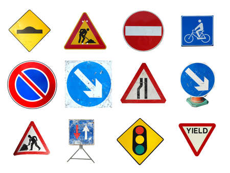 Range of traffic signs isolated including bump ramp, road works, no entry, bike lane, no parking, arrow, traffic light, yield give way photo