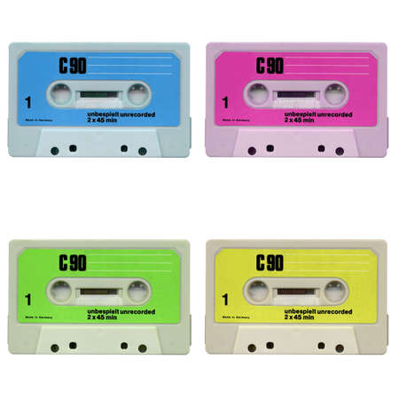 Magnetic audio tape cassette for music recording isolated over white Stock Photo - 5026935