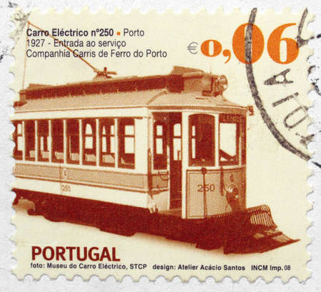 Portuguese postage stamps from Portugal with vintage train carriage Stock Photo - 5026985
