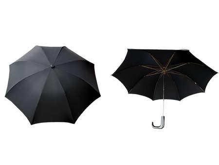 brolly: Paraguas Negro aislados en un fondo blanco