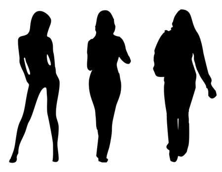 Tre ragazze silhouette illustrazione su bianco Archivio Fotografico - 5027086