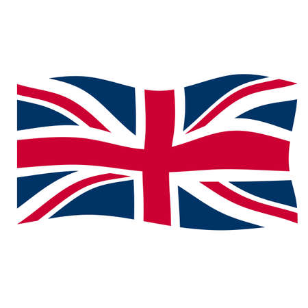 britain: Flag of the UK floating in the wind Stock Photo