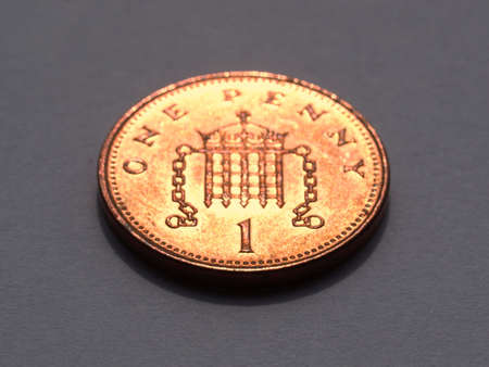 British Pounds 1 penny coin (UK currency) photo