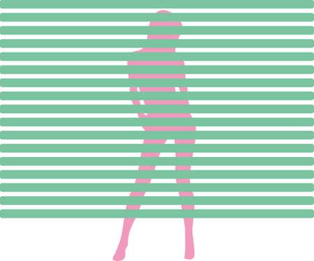 y girl strip tease behind a window blind photo