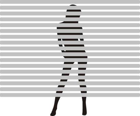 strip tease: y girl strip tease behind a window blind Stock Photo