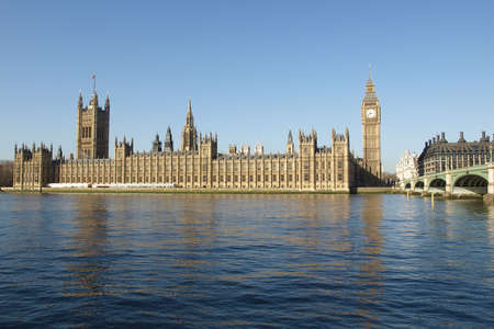 Houses of Parliament with Big Ben, Westminster Palace, London, UK photo