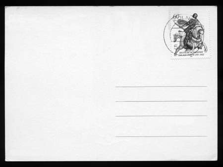 Blank postcard with stamp and postage meter photo