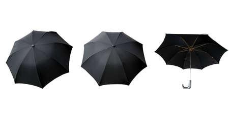 brolly: Paraguas negro aislado sobre un fondo blanco Foto de archivo