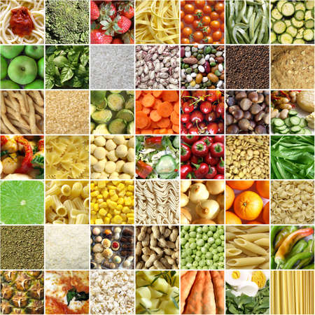 Food collage including 49 pictures of vegetables, fruit, pasta and more photo