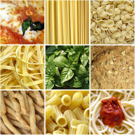 Italian food collage including 9 pictures of pasta, bread, pizza photo