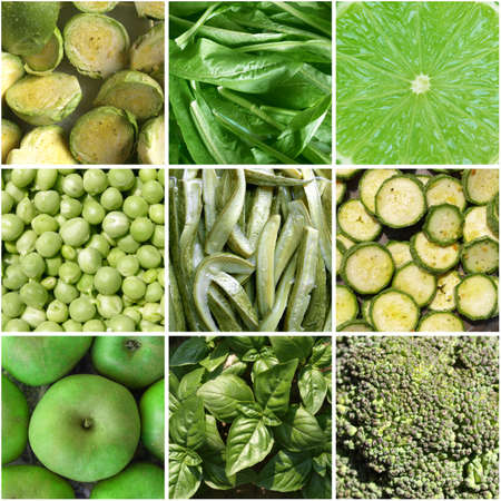 Food collage including 9 pictures of green vegetables photo
