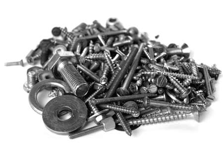 Industrial steel hardware bolts, nuts, screws isolated on white with copyspace Stock Photo - 5151669