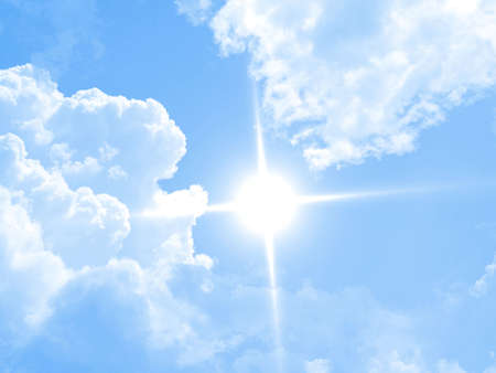 Deep blue sunny sky with white clouds Stock Photo