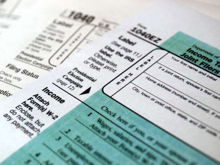 declaration: Range of various blank USA tax forms Stock Photo
