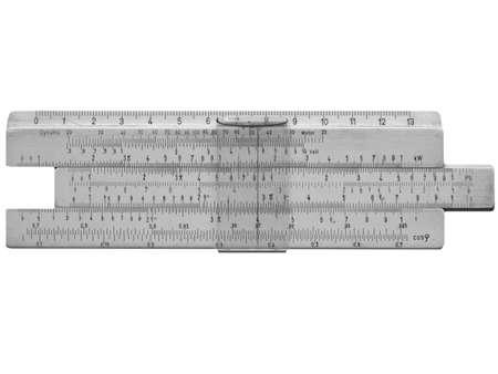 Slide ruler vintage measuring instrument and calculator photo