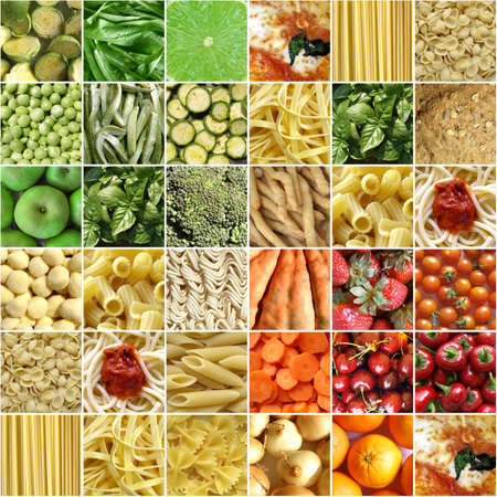 Food collage including pictures of vegetables, fruit, pasta and more Stock Photo - 5183511