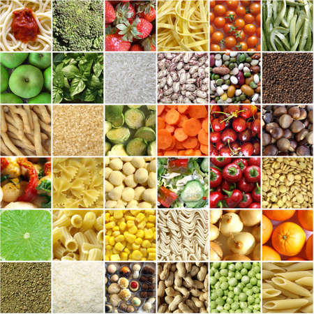 Food collage including pictures of vegetables, fruit, pasta and more photo