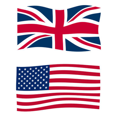 Rippled union jack flags of the UK and USA photo