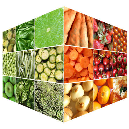 Food cube with many vegetables and fruits photo