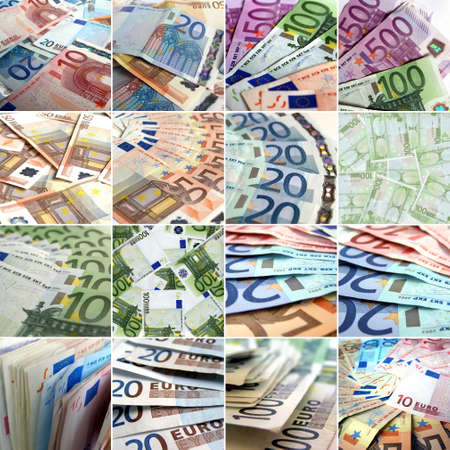 Euro money collage with many bank notes