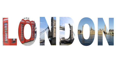 London text written with pictures of landmarks (all pictures are mine)