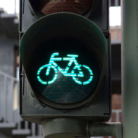 bycicle: Green light for bycicle lane on a traffic light