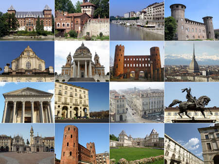 Turin landmarks collage including ancient and baroque architecture photo